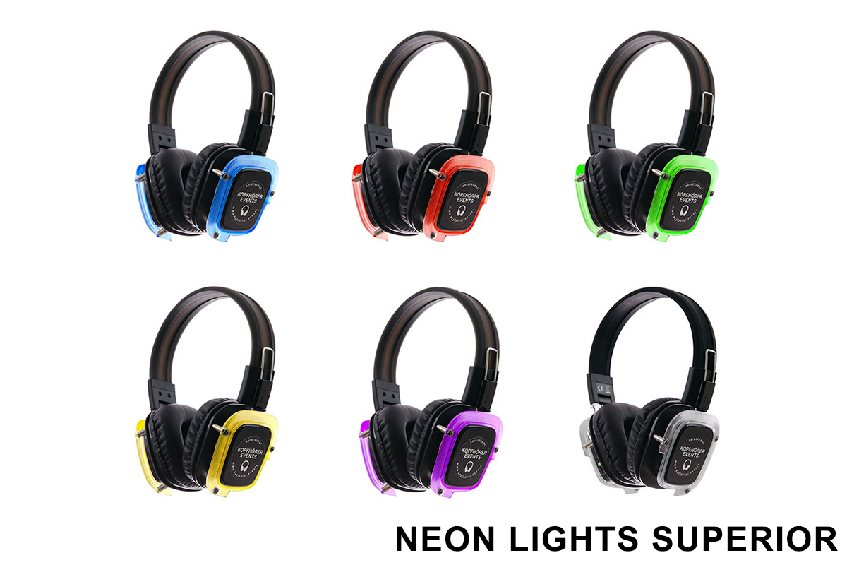 Silent Disco Kopfhörer Neon Lights Superior